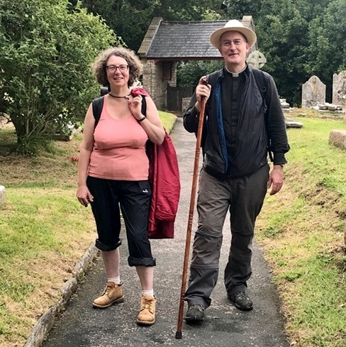 Walking to Ashprington Jim our new rector and Harriet his wife